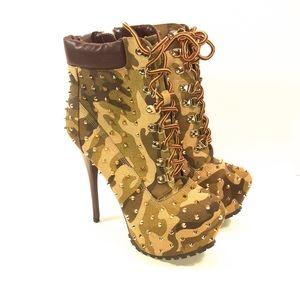 Alba Studded Camouflage Heel Women's Boots